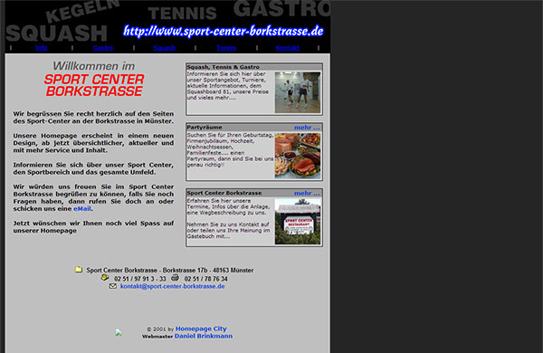 Screenshot der Homepage